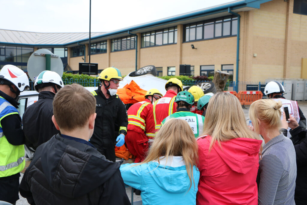 A crowd spectating the extrication challenge