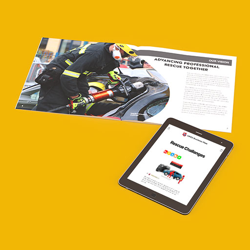 UKRO business plan booklet and tablet